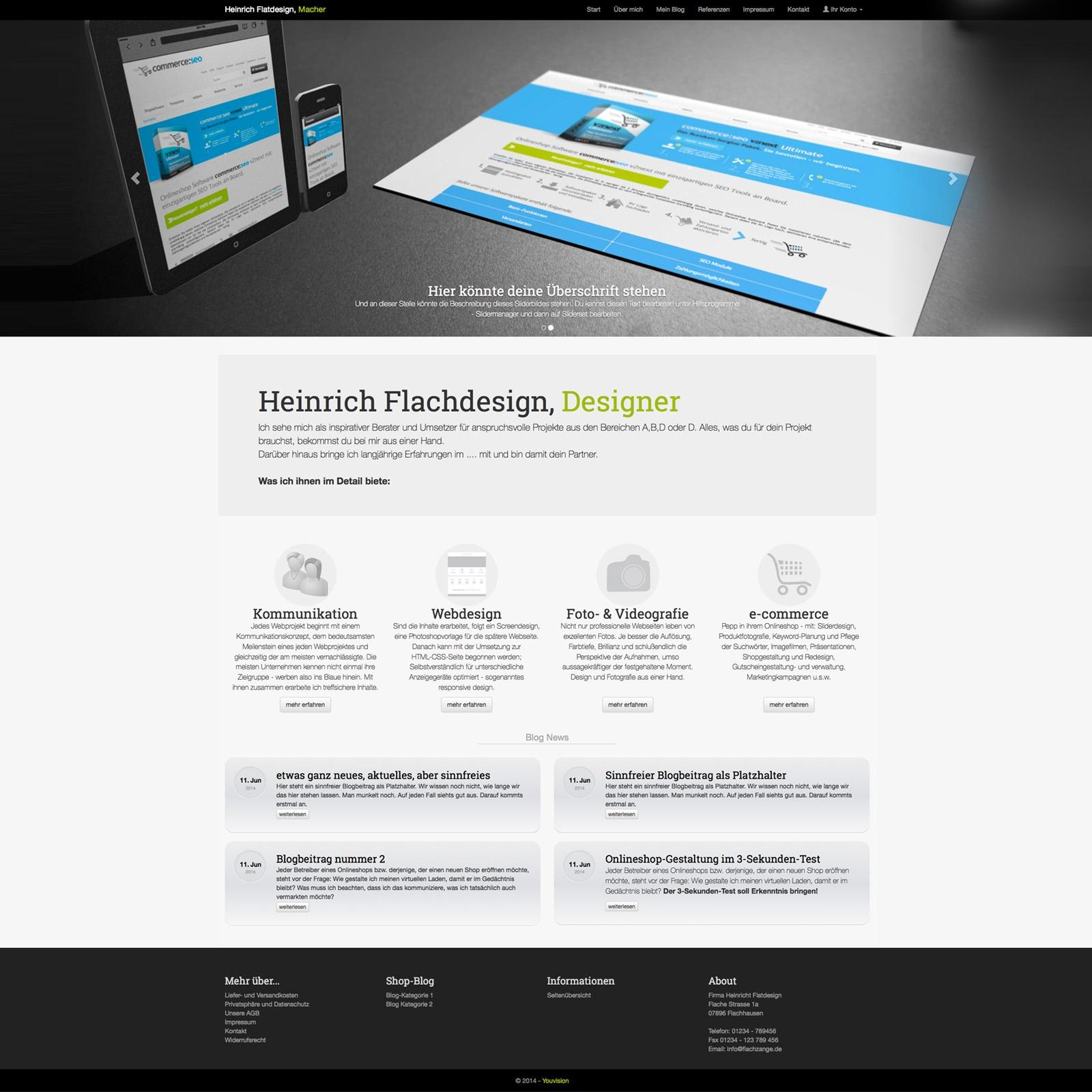 Homepagevorlage, Blogvorlage, landingpage Vorlage, CSS Template, ...
