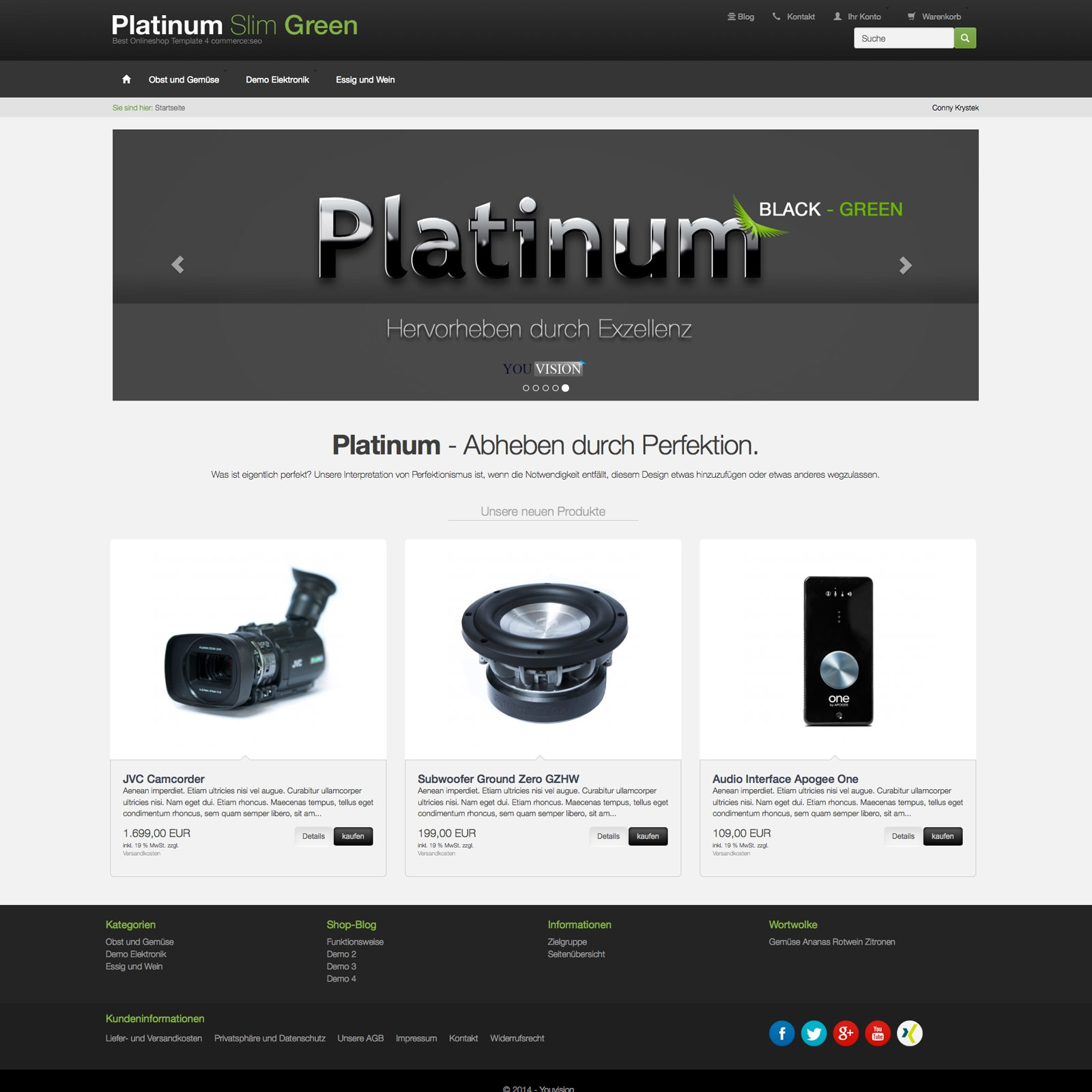 commerce seo template Platinum Slim Green - css responsiv template