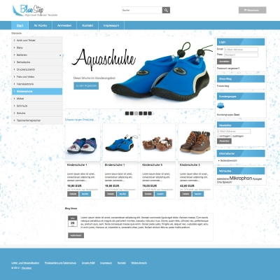 Onlineshop Template Blue Step Startseite