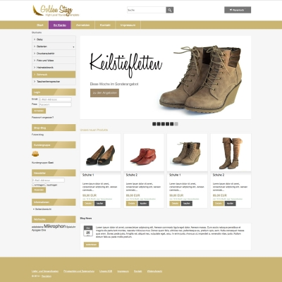 shop Template Golden Stage Startseite